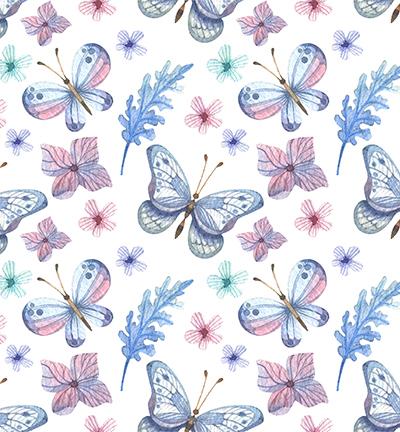 Vegan leer, white, butterflies