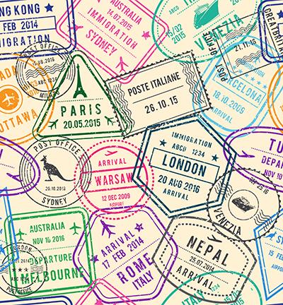 Vegan leer, white, travel stamps