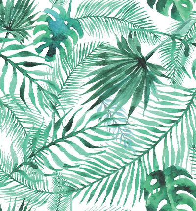 Vegan leer, white, tropical leaves
