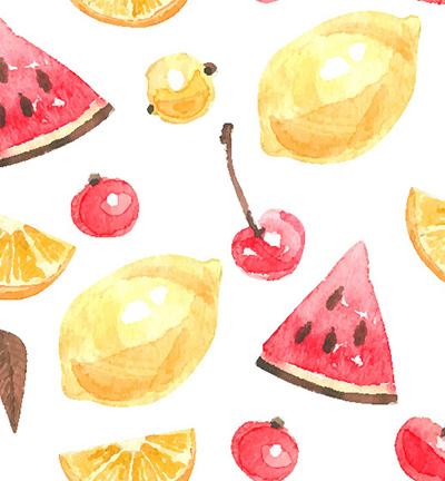 Vegan leer, white, summer fruits