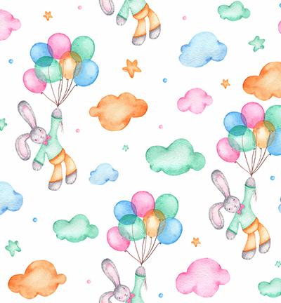 Vegan leer, white, bunnies and balloons