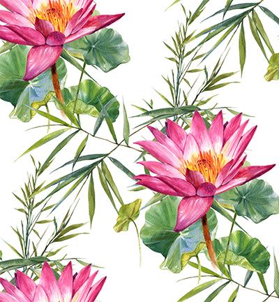 Vegan leer, white, water lilies