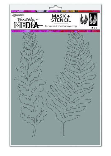 Dina Wakley Media Stencils Curly Frond Mask MDS74540 Dina Wakley 6x9 (09-20)