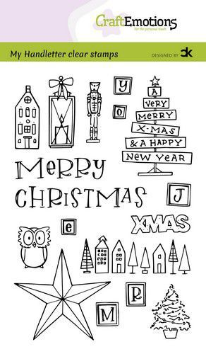 CraftEmotions clearstamps A6 - handletter - X-mas decorations 1 (Eng) Carla Kamphuis (09-20)