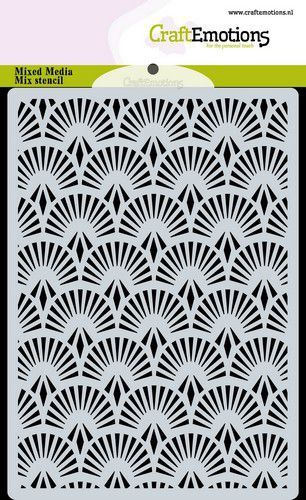 CraftEmotions Mask stencil achtergrond Waaier Art Deco A6 A6 (09-20)