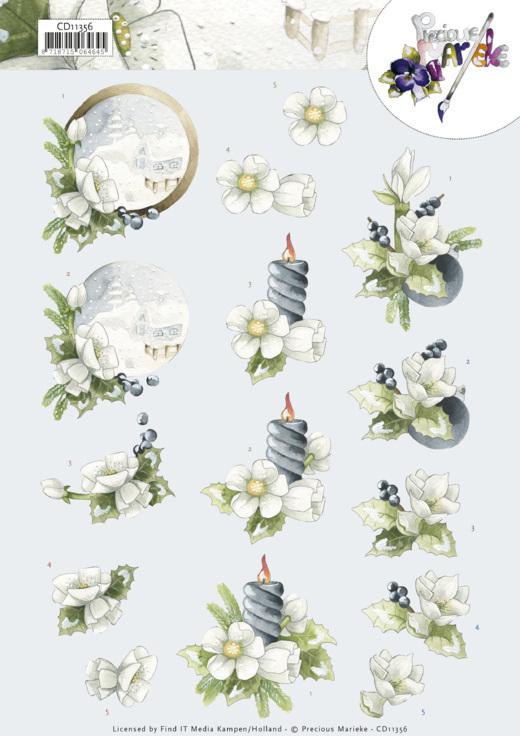 3D Cutting Sheet - Precious Marieke -Amaryllis and Blueberries