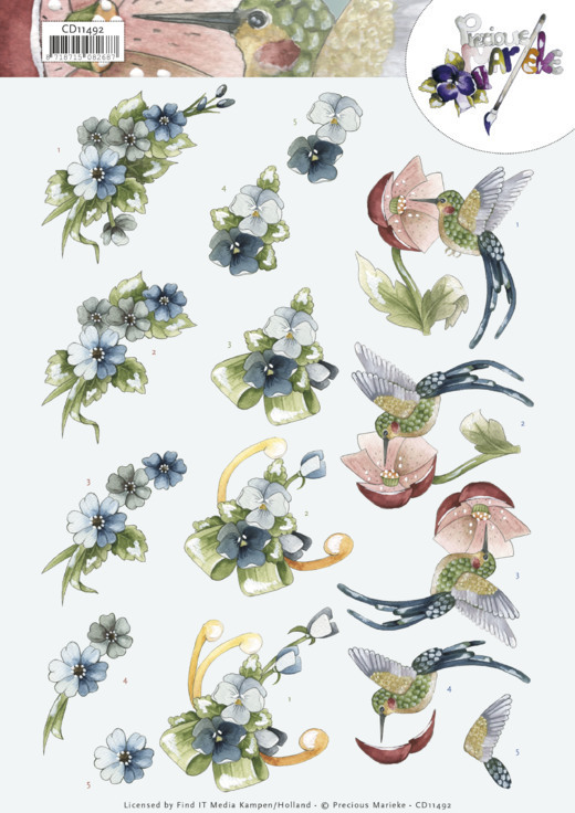 3D Cutting Sheet - Precious Marieke -Blue Flowers
