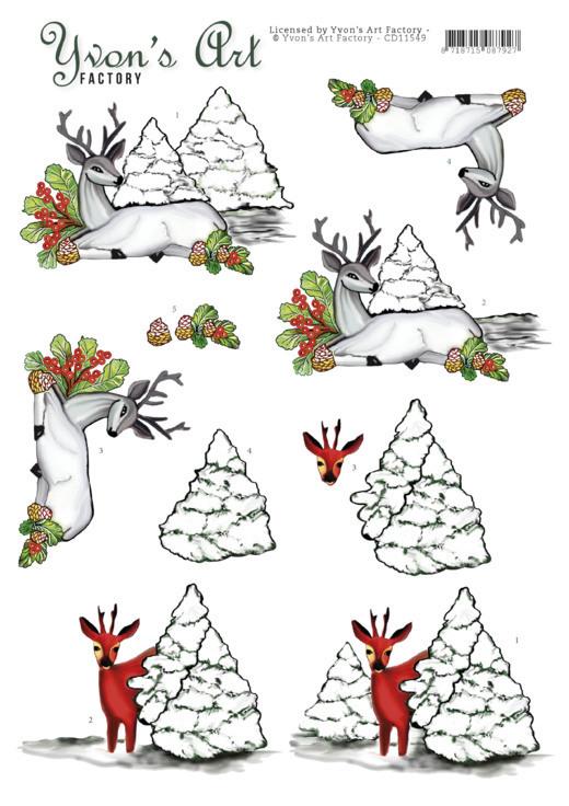 3D Cutting Sheet - Yvon's Art - Deer