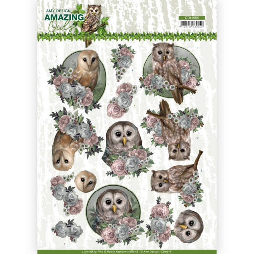 3D Cutting Sheet - Amy Design - Amazing Owls - Romantic Owls