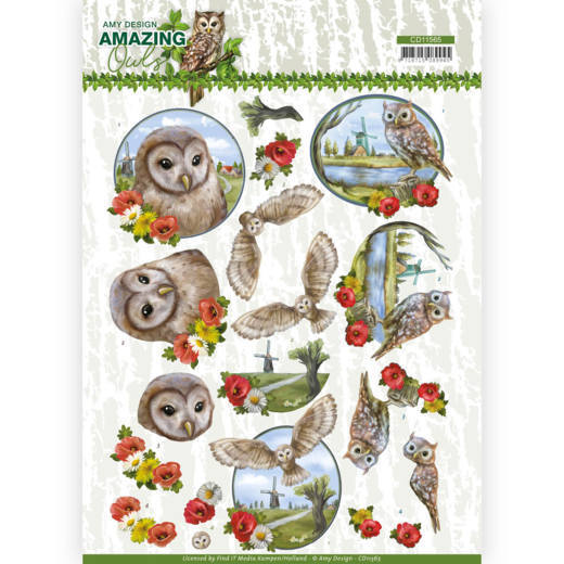 3D Cutting Sheet - Amy Design - Amazing Owls - Meadow Owls