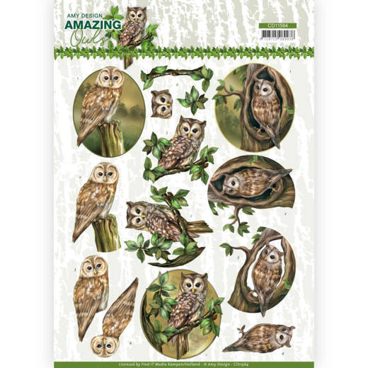 3D Cutting Sheet - Amy Design - Amazing Owls - Forest Owls