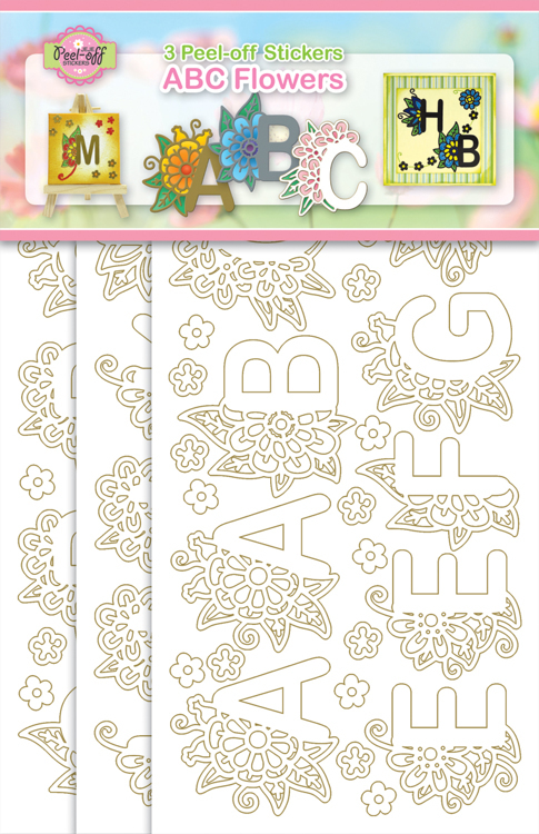 3-Pack ABC Flowers Gold/White