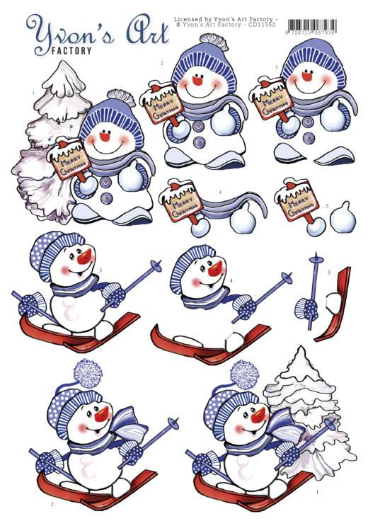 3D Cutting Sheet - Yvon's Art - Snowmen
