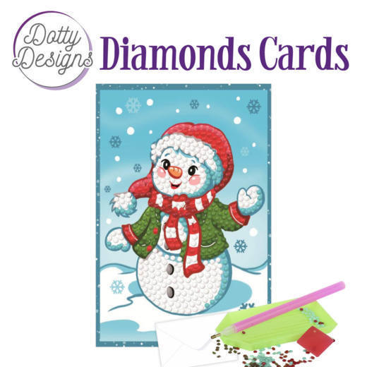 Dotty Designs Diamonds Cards - Happy Snowman