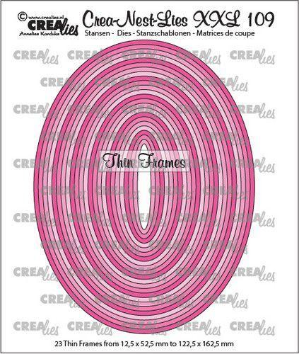 Crealies Crea-nest-dies XXL Dunne kaders ovalen (23x) CLNestXXL109 max 122,5x162,5mm (09-20)