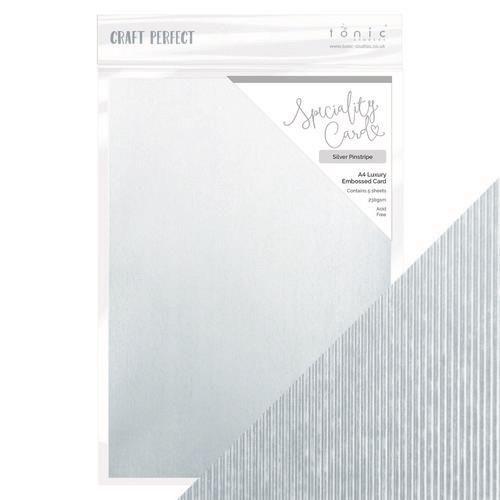 Tonic Studios  embossed karton - Silver pinstripe A4 5vl 9848E (10-20)