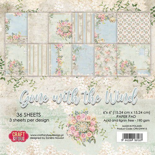 Craft&You Gone with the Wind Small Paper Pad 6x6 36 vel CPB-GWW15 (09-20)