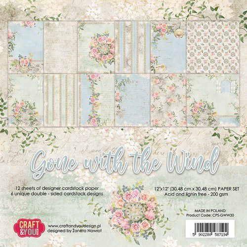 Craft&You Gone with the Wind Big Paper Set 12x12 12 vel CPS-GWW30 (09-20)
