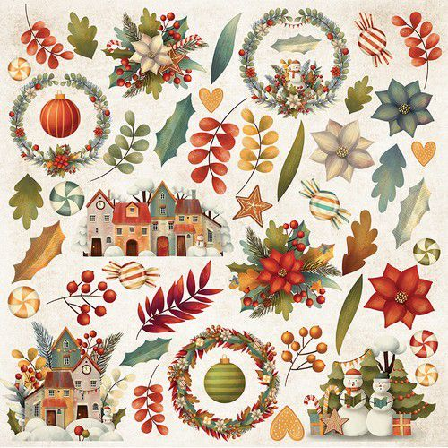 Craft&You Colors of Christmas sheet elements to cut out 12x12 CP-CC07 (09-20)