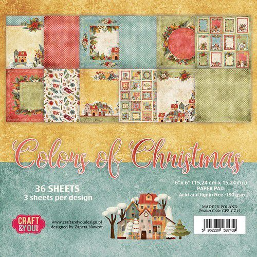 Craft&You Colors of Christmas Small Paper Pad 6x6 36 vel CPB-CC15 (09-20)