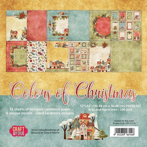Craft&You Colors of Christmas Big Paper Set 12x12 12 vel CPS-CC30 (09-20)