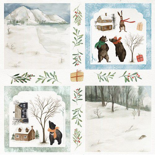 Craft&You Winter Holiday sheet elements to cut out 12x12 CP-WH08 (09-20)
