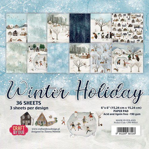 Craft&You Winter Holiday Small Paper Pad 6x6 36 vel CPB-WH15 (09-20)