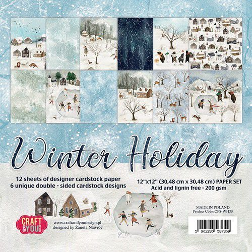 Craft&You Winter Holiday Big Paper Set 12x12 12 vel CPS-WH30 (09-20)