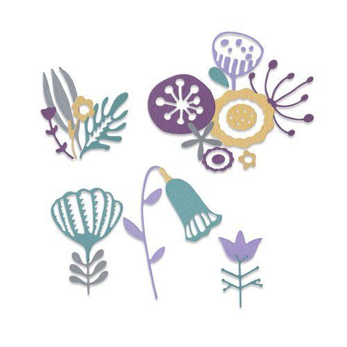 Sizzix Thinlits Die Set - 22PK Folk Florals 664452 Jenna Rushforth (10-20)