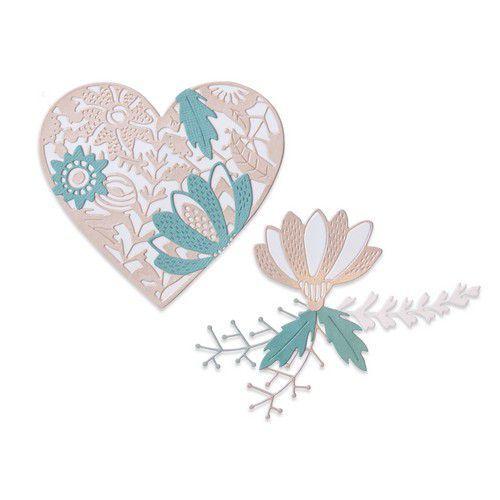 Sizzix Thinlits Die Set - 9PK Bold Floral Heart 664492 Jenna Rushforth (10-20)