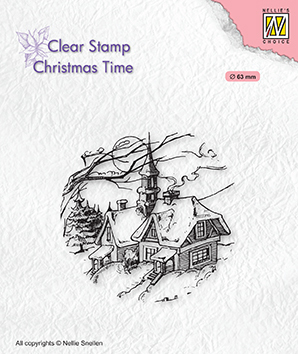 CT038 Clear stamps Christmas time Snowy Christmas scene
