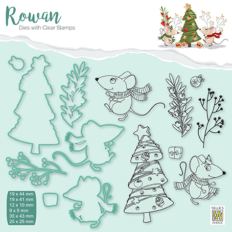 RDCS007 Rowan Dies&clear stamp sets Christmas animals mouse-3 Christmas tree