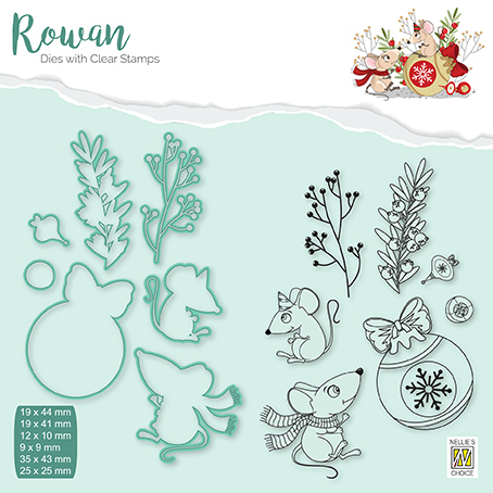 RDCS005 Rowan Dies&clear stamp sets Christmas animals mouse-1 Christmas bauble