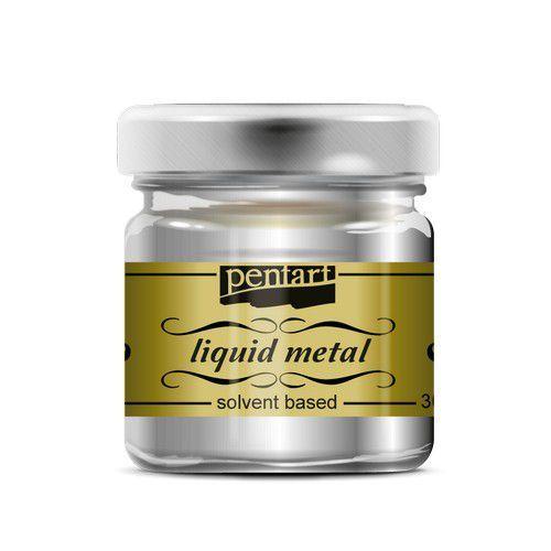 Pentart Liquid metal verf op solvent basis - zilver 21080 30 ml (09-20)