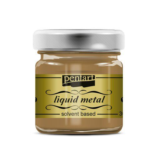 Pentart Liquid metal verf op solvent basis - antiek goud 21083 30 ml (09-20)