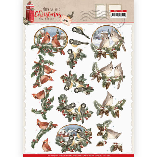 3D cutting sheet - Amy Design - Nostalgic Christmas - Christmas Birds