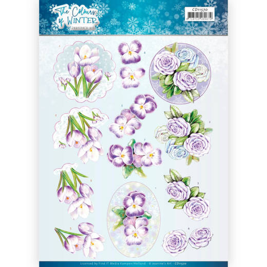 3D Cutting Sheet - Jeanine's Art - The colours of winter - Purple winter flowers
