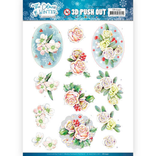 3D Push Out - Jeanine's Art - The colours of winter - Pink winter flowers