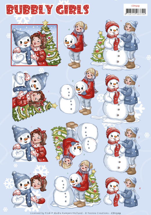 3D Cutting Sheet - Yvonne Creations - Bubbly Girls - Christmas