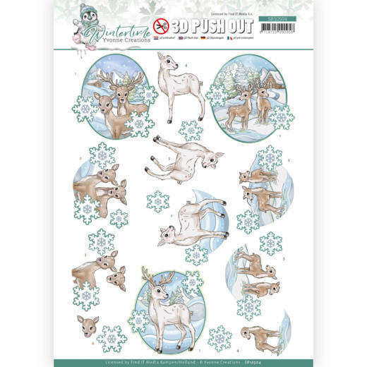 3D Push Out - Yvonne Creations - Winter Time - Deer
