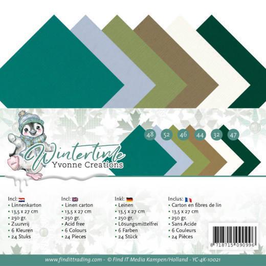 Linen Cardstock Pack - 4K - Yvonne Creations - Winter Time