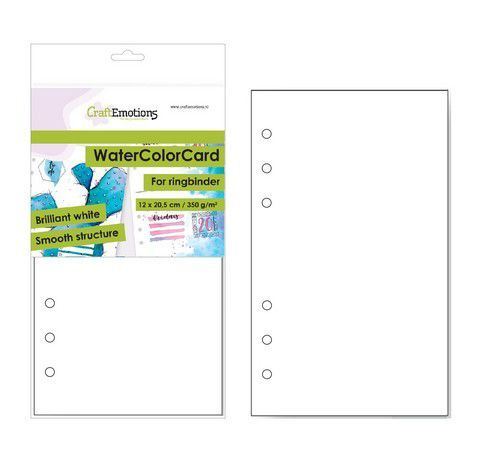 CraftEmotions WaterColorCard - bril. Ringband wit 10 vl 12x20,5cm - 350 gr - 6 Ring A5 (10-20)