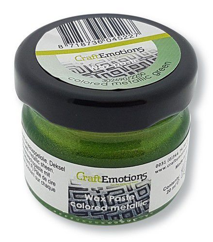CraftEmotions Wax Paste metallic colored - groen 20 ml (09-20)