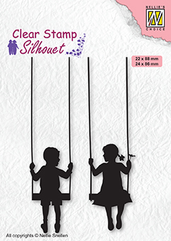 Silhouettes: Boy & girl swiging