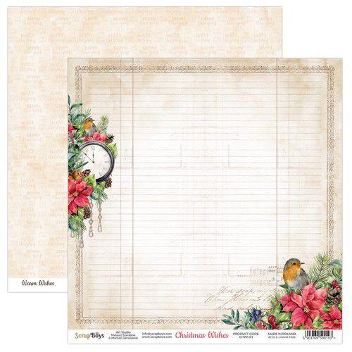 ScrapBoys Christmas Wishes paper sheet DZ CHWI-01 190gr 30,5 x 30,5cm (10-20)