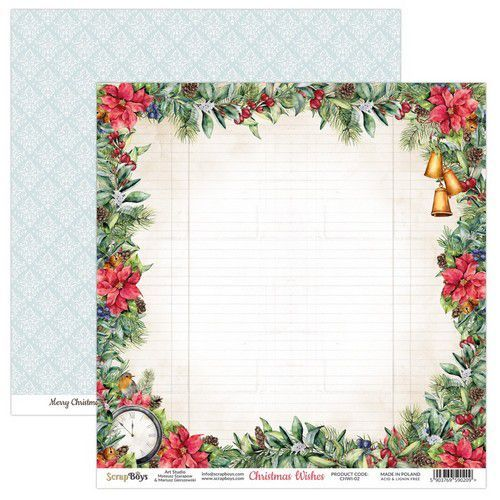 ScrapBoys Christmas Wishes paper sheet DZ CHWI-02 190gr 30,5 x 30,5cm (10-20)