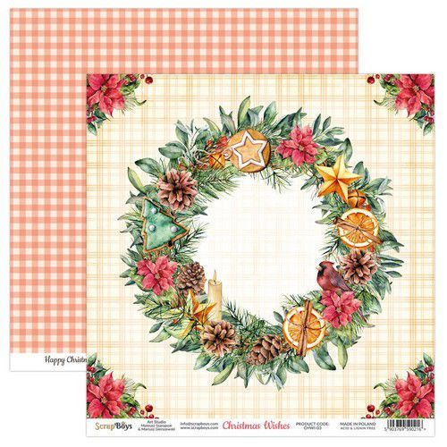ScrapBoys Christmas Wishes paper sheet DZ CHWI-03 190gr 30,5 x 30,5cm (10-20)