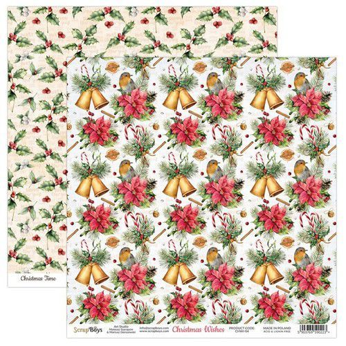 ScrapBoys Christmas Wishes paper sheet DZ CHWI-04 190gr 30,5 x 30,5cm (10-20)