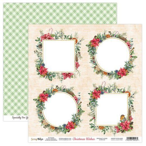 ScrapBoys Christmas Wishes paper sheet DZ CHWI-05 190gr 30,5 x 30,5cm (10-20)