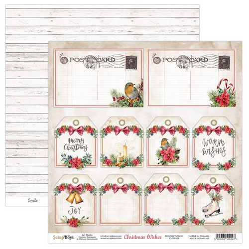 ScrapBoys Christmas Wishes paper sheet DZ CHWI-06 190gr 30,5 x 30,5cm (10-20)